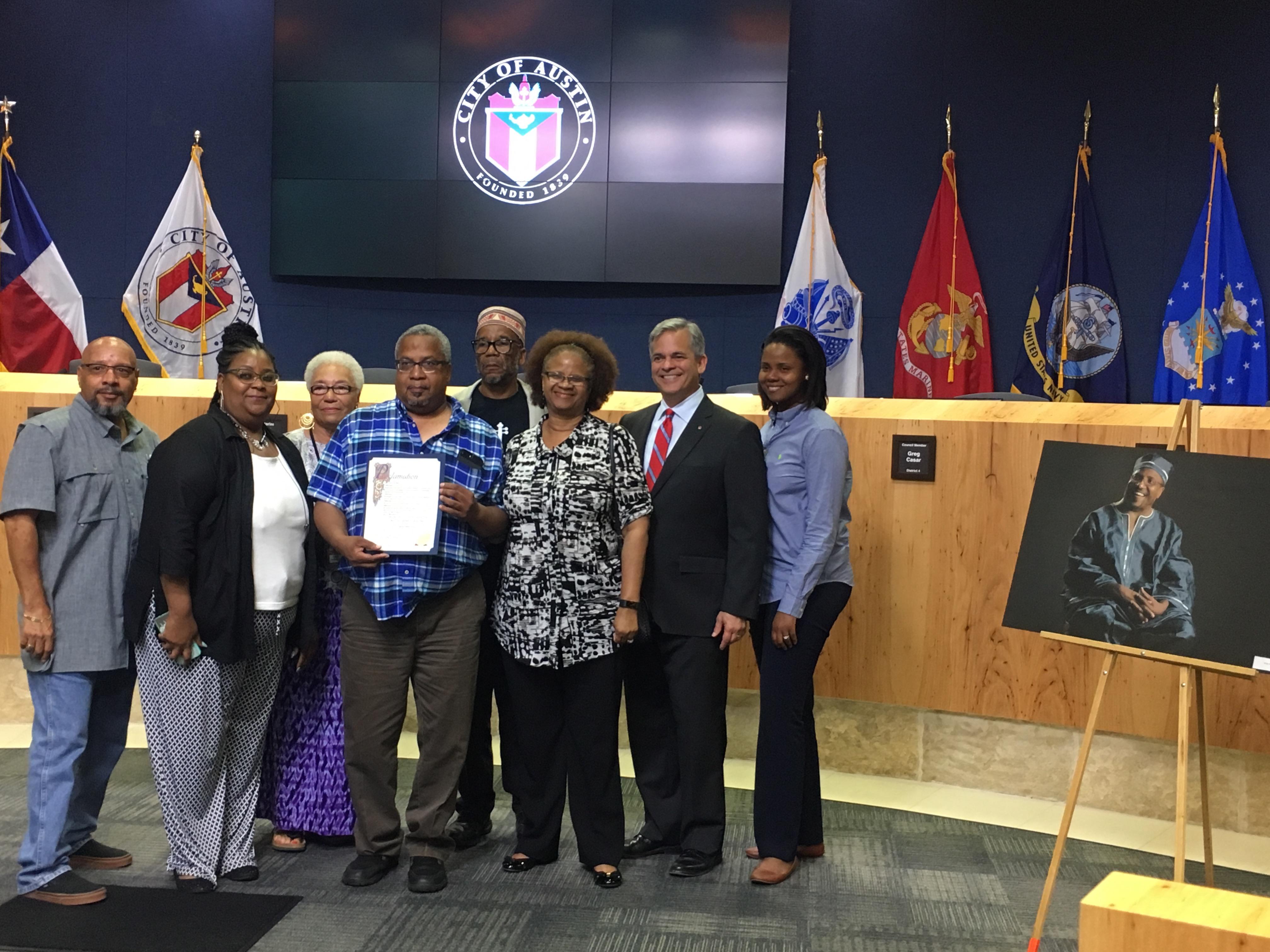 Booker Vance (front center); Clen Vance (rear center), Mayor Adler, Cmbr. Ora Houston (sponsor) and friends